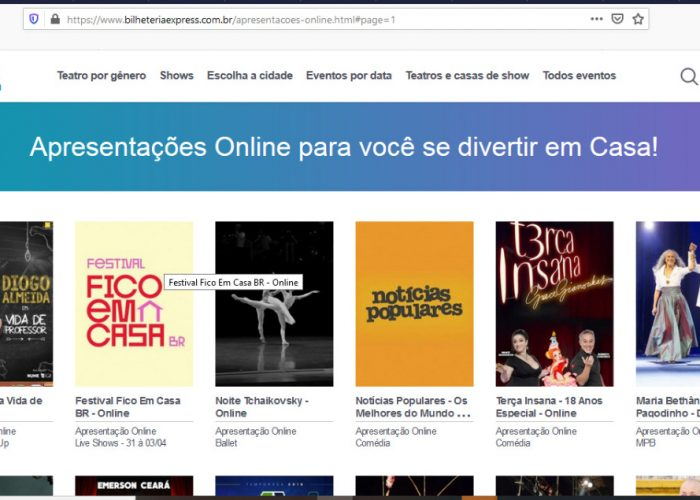 SITE DISPONIBILIZA SHOWS E ESPETÁCULOS ONLINE GRATUITOS